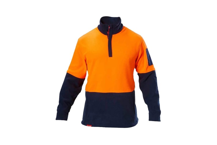 Hard Yakka Hi Vis Two Tone Polar Fleece 1/4 Zip Jumper (Orange/Navy, Size XL)