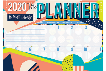 Planner - 2020 Rectangle Wall Calendar Organiser Planner 14 Months by Biscay (A)