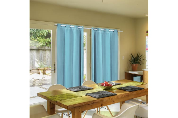 2X Blockout Curtains Panels Blackout 3 Layers Room Darkening Pure With Gauze NEW  -  Turquoise140X160cm (WxH)