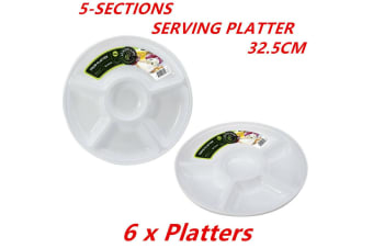 6 x 32.5cm Round Plastic Serving Platter w/ Sections Party Catering Food Snack Plate
