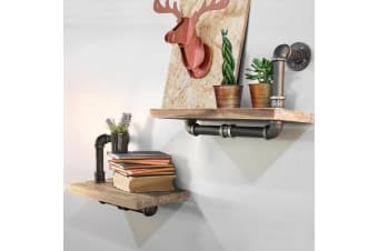 Artiss Rustic Industrial DIY Pipe Shelf Vintage Floating Shelves Wall Brackets