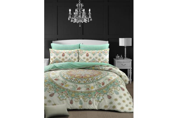 Style & Co 100 % Cotton Reversible Quilt Cover Set Double Mandella