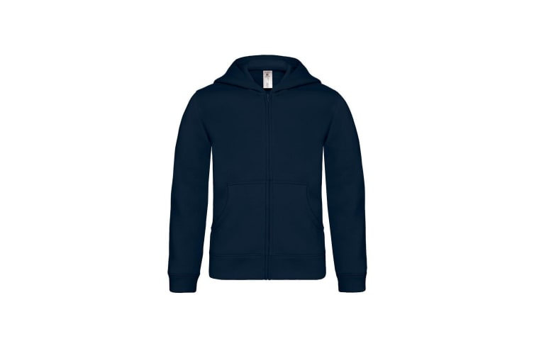 B&C Childrens/Kids Plain Full Zip Hoodie Jacket (Navy) (9-11 Years)