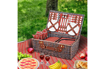 4 Person Picnic Basket Wicker Picnic Set Outdoor Insulated Blanket