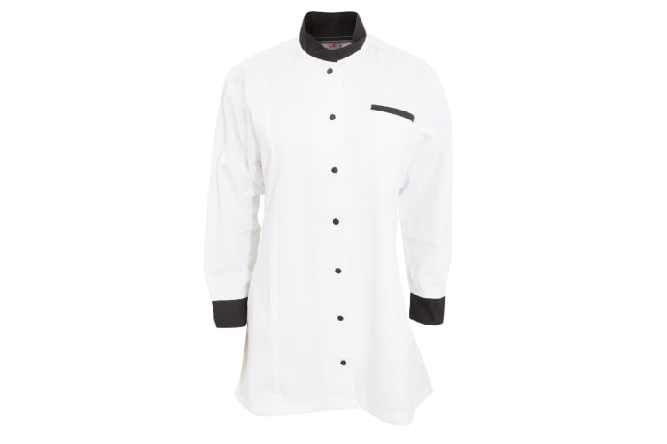 Dennys Womens/Ladies Contrast Chef/Food Service Tunic (White/ Black) (2XL)