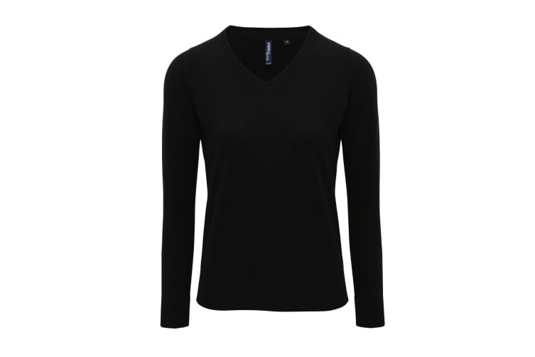 Asquith And Fox Womens/Ladies V-Neck Sweater (Black) (XL)