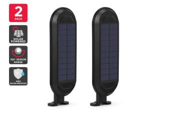 Solar Powered Wall Mounted Motion Sensor LED Light (Black, Zara) - 2 Pack