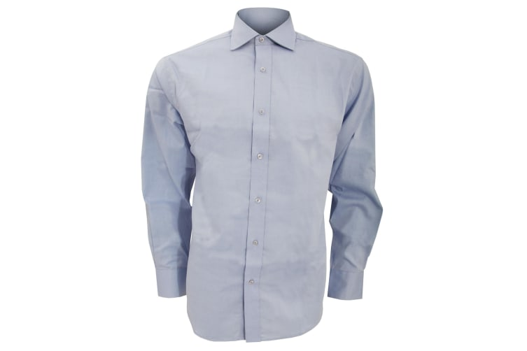 Kustom Kit Mens Superior Oxford Long Sleeved Shirt (Light Blue) (17.5inch)