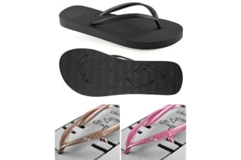 Women's Black Slim Thongs with 2x Pairs of Interchangeable Gold and Pink Diamante Straps Size 7/8