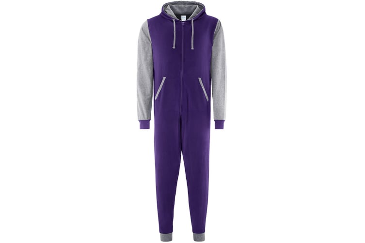 Comfy Co Adults Unisex Two Tone Contrast All-In-One Onesie (Purple/Heather Grey) (2XL)
