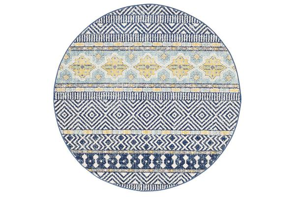 Amelia Navy, Yellow & Grey Coastal Durable Round Rug 200x200cm