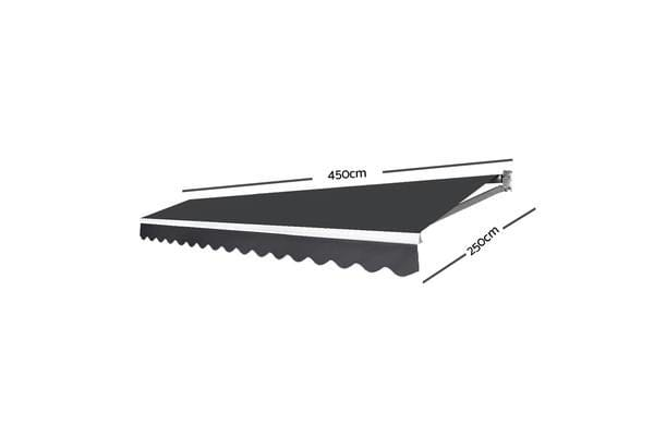 Instahut 4.5M x 2.5M Outdoor Folding Arm Awning (Grey)