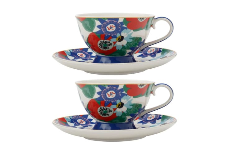 2PK Maxwell & Williams Teas & C's 200ml Footed Cup w Saucer Set Passion Vine WHT