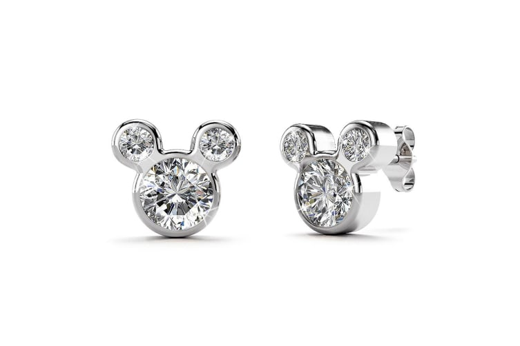 .925 Mickey Earrings-White Gold/Clear
