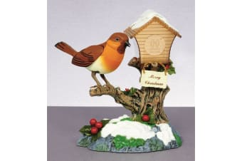Christmas Shop Singing Rocking Robin On Birdhouse Ornament (Multicoloured)