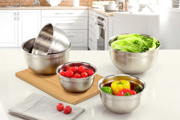 Ovela 5pc Stainless Steel Mixing Bowl with Airtight Lids