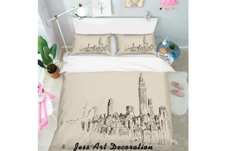 3D City Building Simple Line Drawing Quilt Cover Set Bedding Set Pillowcases  115-Queen