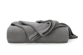 Ovela Cotton Waffle Weave Blanket (Single/Double, Charcoal)