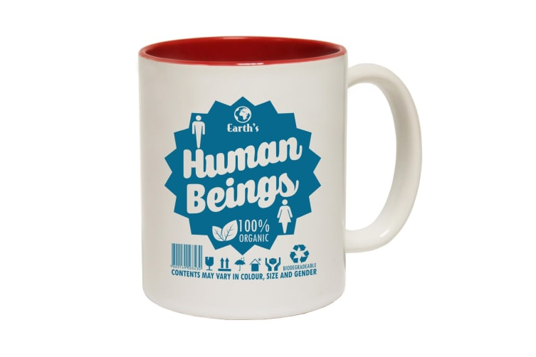 123T Funny Mugs - Human Beings - Red Coffee Cup