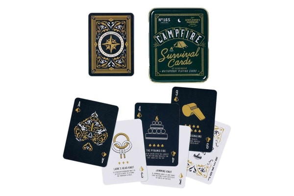 Campfire Survival Cards: Waterproof Playing Cards in a Tin