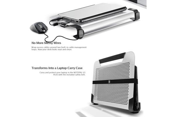 Coolermaster NotePal U3 PLUS Silver Notebook Cooler Stand, 3x movable Fan, Support up to 19' Notebook