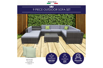 Milano 9 Piece Wicker Rattan Sofa Set Oatmeal Grey Outdoor Lounge Furniture