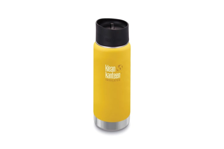 Klean Kanteen 16oz Water Bottle Wide Insulated Cafe Cap Lemon Curry