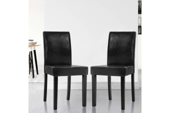 Artiss 2x Dining Chairs PU Leather Pad Chair High Back Wood Cafe Kitchen Black