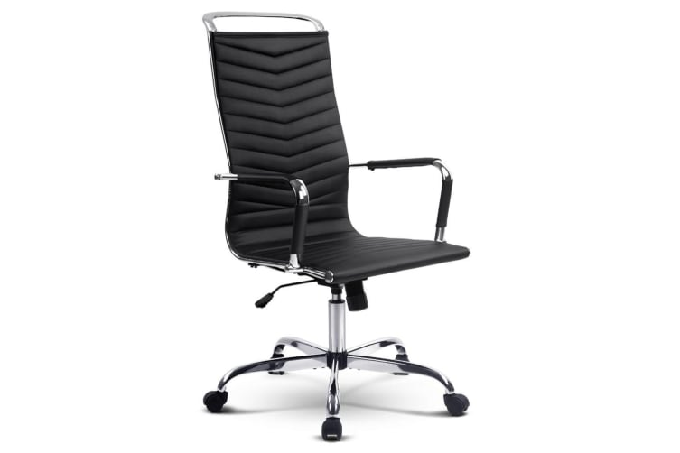 Artiss Eames Replica Office Chair Computer Chairs Seating Leather Executive BK