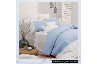 Roland Blue Quilt Cover Set KING by Logan and Mason