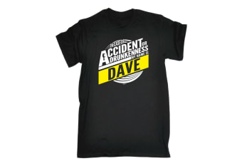 123T Funny Tee - Dave In Case Of Accident Or Drunkenness - (5X-Large Black Mens T Shirt)