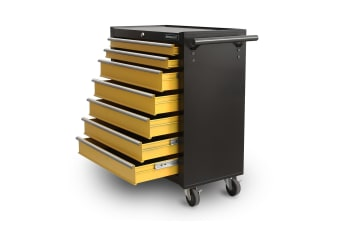 7-Drawer Storage Cabinets Trolley Tool Chest with A Side Handle - Yellow and Black