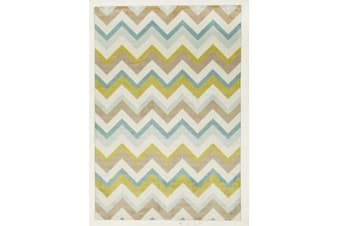 Stunning Chevron Design Rug Green Brown Cream