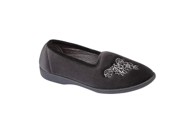 Zedzzz Womens/Ladies Heather Floral Slippers (Black) (6 UK)