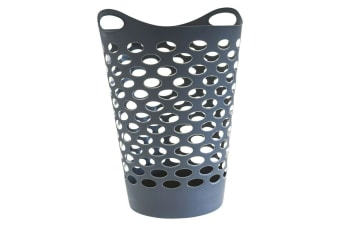 1 x 60L Large Flexible Laundry Basket Black Hamper Washing Clothes Toy Storage Bin
