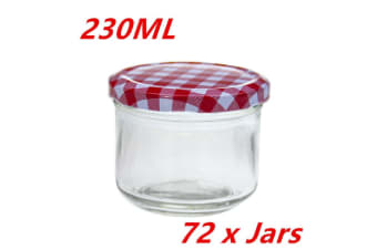72 x 230 ml Screw Top Preserving Glass Jam Jar CONSERVE JARS Candle Red White Lid WMC