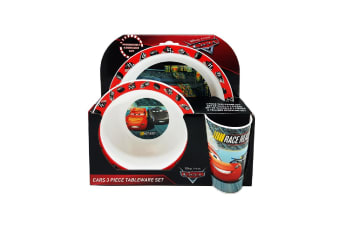 Cars Childrens/Kids 3 Piece Dinner Set (Red/White/Black) (One Size)