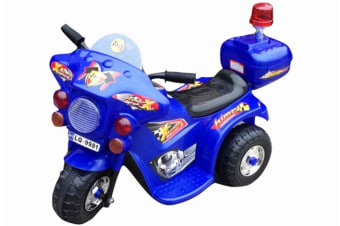 Indoor/Outdoor Blue 3 wheel Electric Ride On Motorcycle Motor Trike Kids/Toddler