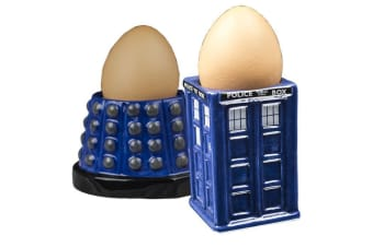 Doctor Who Tardis & Dalek Egg Cup Set | Eggs Holder BBC Dr Collectible Memorabilia