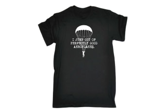 123T Funny Tee - I Jump Out Aeroplanes - (Small Black Mens T Shirt)