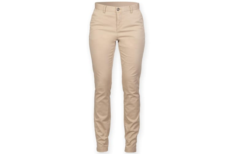 Front Row Womens/Ladies Cotton Rich Stretch Chino Trousers (Stone) (XS)