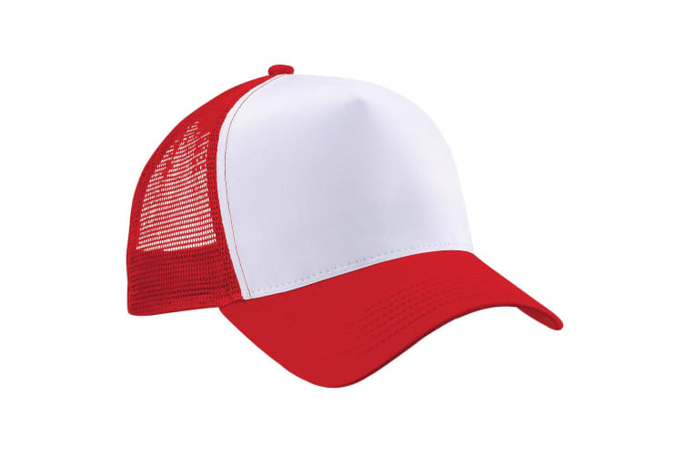 Beechfield Mens Half Mesh Trucker Cap / Headwear (Pack of 2) (Classic Red/White) (One Size)