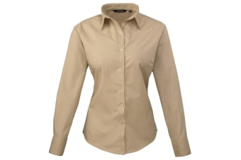 Premier Womens/Ladies Poplin Long Sleeve Blouse / Plain Work Shirt (Khaki)