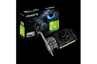 Gigabyte nVidia Geforce GT 710 2GB DDR5 PCIe Video Card 4K 2xDisplays HDMI Dual Link DVI Low Profile Fan 954MHz