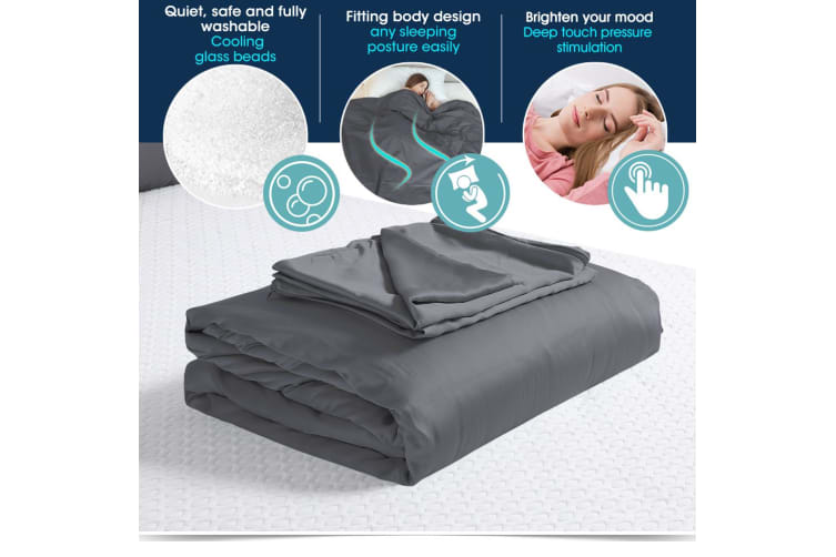 Dreamz Weighted Blanket with Bamboo Fiber Zipper Cover and Pillowcase Set Grey