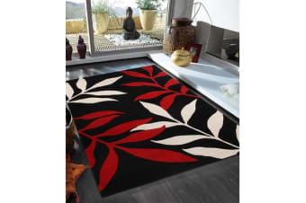 Stunning Leaf Design Rug Black Red