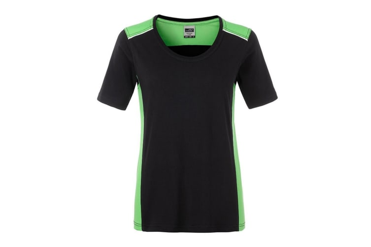 James and Nicholson Womens/Ladies Workwear 2 Level T-Shirt (Black/Lime Green) (XXL)