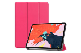 For iPad Pro 12.9 Inch (2018) Case Magenta Karst Texture PU Leather Folio Cover
