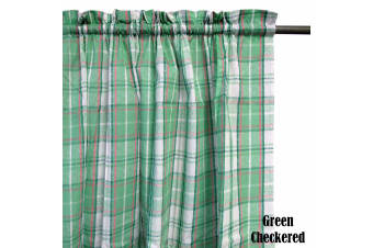 Pair of Polyester Cotton Rod Pocket Green Checkered Curtains by Home Innovations