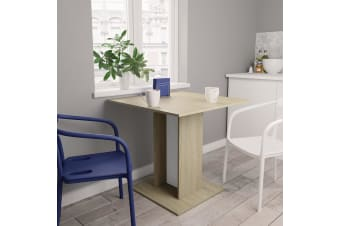 vidaXL Dining Table White and Sonoma Oak 80x80x75 cm Chipboard